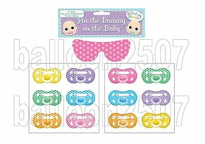 OFFER Baby Shower Party Pin The Dummy Pacifier Game 12 Guests Extra Dummies