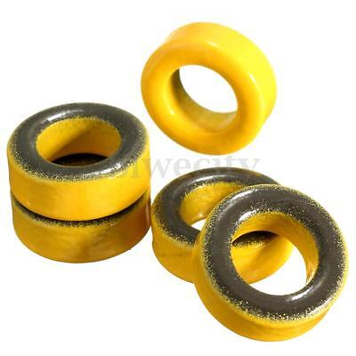 5Pcs Yellow Micrometals T50-6 Iron Powder Toroidal Core RF Toroid HF HAM QRP