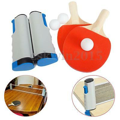 Portable Retractable Table Tennis Ping Pong Net + 2 Racket Paddle Bat + 3 Balls