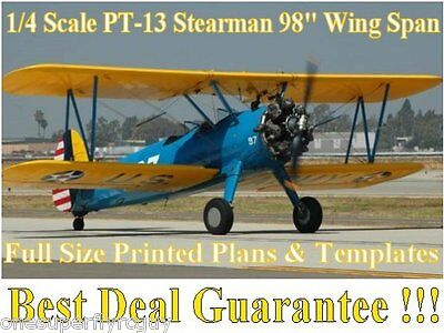 """Stearman PT-13 98"""" WS 1/4 Scale RC Airplane Full Size PRINTED Plans & Templates"""