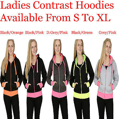 Ladies Contrast Color Fully Zipped Side Pockets Hooded Jumper Hoody S M L & XL