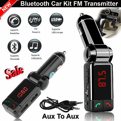 New LCD Bluetooth Car Kit FM Transmitter MP3 USB Charger Handsfree For iPhone
