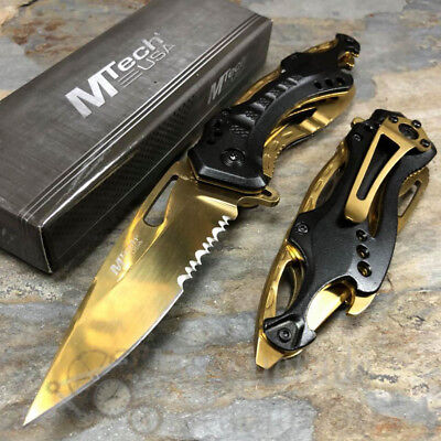 MTech Half Serrated Tactical Rescue Outdoor Spring Assisted Pocket Knife [Gold]