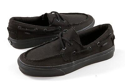 20c3dd2f031 Vans Zapato del Barco Boat Black Canvas Mens Womens Skate Shoes All Sizes