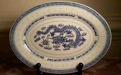 "Small 8"" Oval Platter Chinese Rice Eyes with Dragon Pattern"