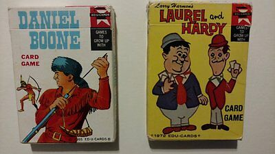 2 Decks! Laurel and Hardy Daniel Boone Card Game s - Edu-Cards 1060s 1970s