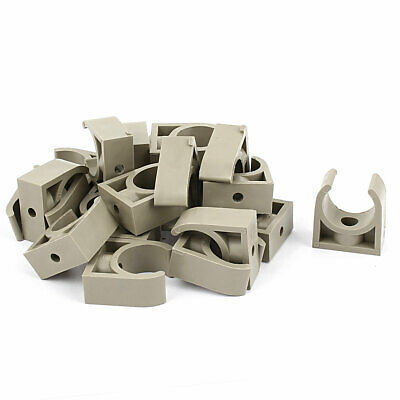 20 Pcs 25mm Diameter PVC Water Tube Pipe Clamps Clips Connectors Gray