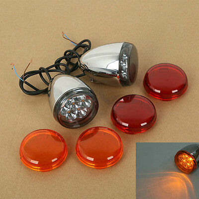 Chrome LED Turn Signals Indicator For Harley Sportster XL883 XL1200 XL 1992-UP