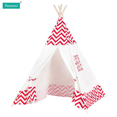 Kids Tipi Teepee Play Tent Play House Outdoor or Indoor Red Strip Tent  US STOCK