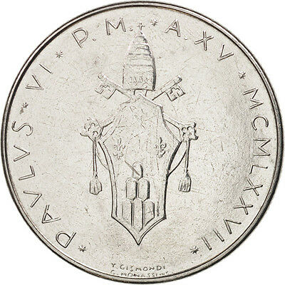 [#406943] VATICAN CITY, Paul VI, 100 Lire, 1977, Roma, AU(50-53), Stainless