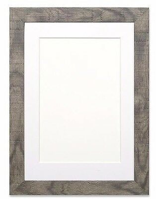Shabby Chic Rustic/ Wood Grain Picture frame photo frame Grey With Bespoke Mount