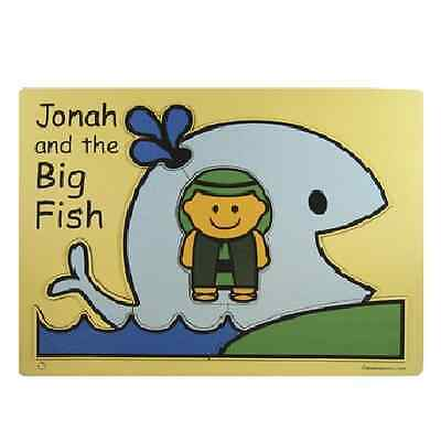 JONAH AND THE BIG FISH Childs Wooden Puzzle Prophet Bible Story whale