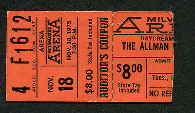 1975 Allman Brothers Muddy Waters Concert Ticket Stub Milwaukee Win Lose or Draw