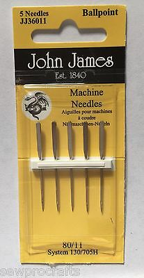 JOHN JAMES Machine Sewing Needles - ALL STYLES SIZES - SEWING CRAFT Hobby