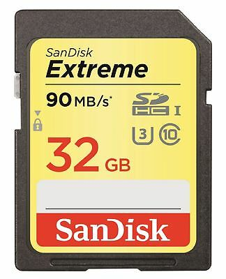 32GB SanDisk Extreme SD SDHC Digital Memory Card UHS-I U3 90MB/Sec Class 10