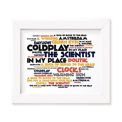 `Cadence` COLDPLAY Art Print Typography Album Song Lyrics Signed Wall Poster