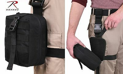 Drop Leg Detachable Medical Pouch - Rothco Black MOLLE EMT Thigh Pouches 20755