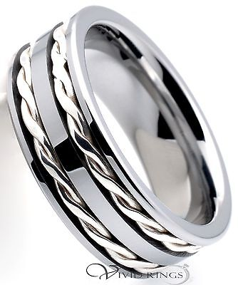 Mens Tungsten Carbide Ring Double 925 Silver Braided Band 8mm Size 7.5 to 14.5