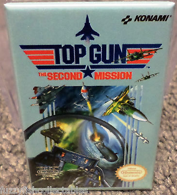 "Top Gun Second Mission Nintendo NES Vintage Game Box  2""x3"" Refrigerator MAGNET"