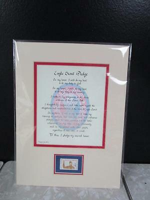 Matted EAGLE SCOUT PLEDGE, EAGLE SCOUT with 1960 STAMP   NEW