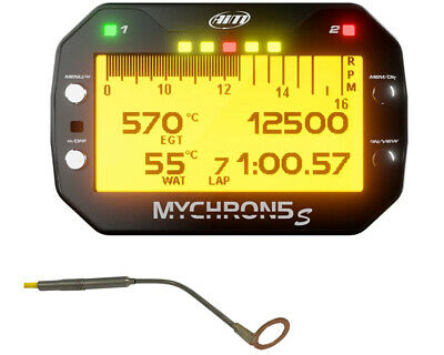 AIM Mychron 5 GPS Datalogger Unit, Spark Temp Sensor & RPM Lead UK KART STORE