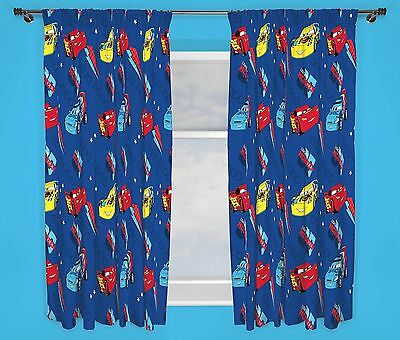 """Disney Cars Piston Blue 72"""" Curtains Kids Bedroom Curtains 100% Official"""