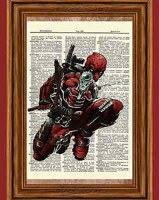 Deadpool Dictionary Art Poster Picture Comic Book Marvel Collectible Superhero