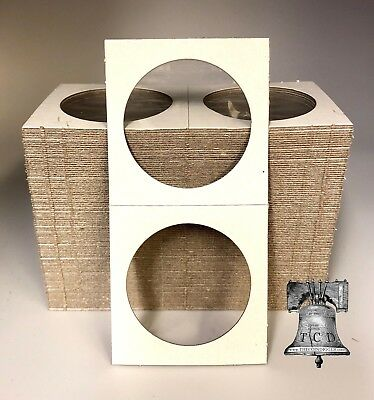 100 2x2 SILVER DOLLAR Mylar Cardboard Coin Holder Storage Display Flip Mount