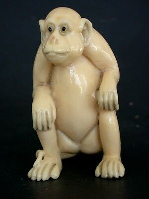 Vintage Japanese ivory colored  netsuke -A Large APE/MONKEY sits,signed
