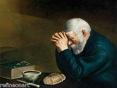 Handmade Oil Painting repro on Canvas Grace, Daily Bread Old Man Praying 20x24