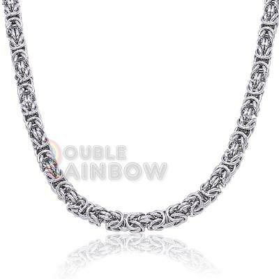 "C12 22""Men stainless steel Silver BALI Byzantine Vintage necklace chain Link"