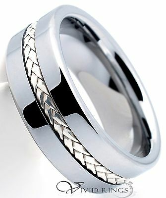 Mens Tungsten Carbide Wedding Band 925 Silver Inlay Ring 8mm Size 7.5 to 14.5