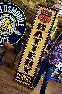 Phillips 66 Battery Sign Service Garage Gas Oil Station Advertising tin 6ft