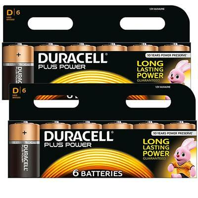 12 X Duracell D Size Plus Power Alkaline Batteries Cell Battery For Flashlights