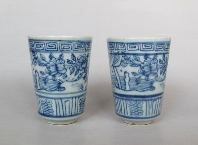 Pair of Chinese Antique Blue and White Porcelain Cups & flower & bird