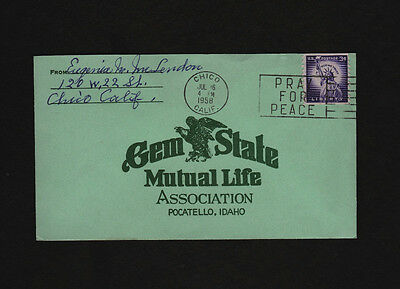 signed 1958 envelope: Eugenia McLendon of Chico California * Gem State insurance