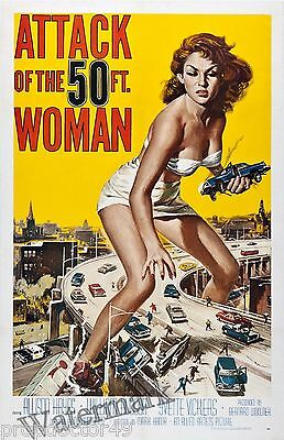 Wall Art - Movie Poster- Attack of the 50 Ft Woman 1958   11x17