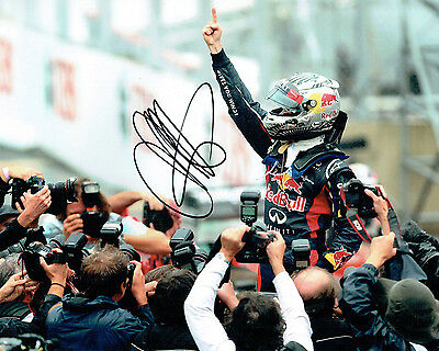 Sebastian Vettel SIGNED AUTOGRAPH Former World Champion 10x8 Photo AFTAL COA