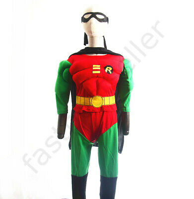 Robin  Boys Kids Muscle Costume Set Halloween Party Dress Up Outfit Children