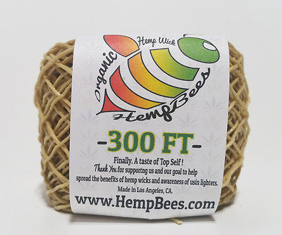 Organic Hemp Wick Line  300 FT - 1 mm -- HB Hemp Wick Dispenser bee hemp line