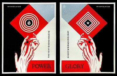 Obey Shepard Fairey Interpolation Diptych Poster Set Signed & Numbered #/550