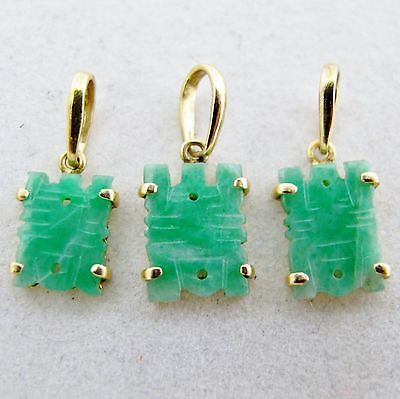 """3 Small Chinese 18K Yellow Gold & Carved Green JADEITE Jade Pendants  (.75"""")"""