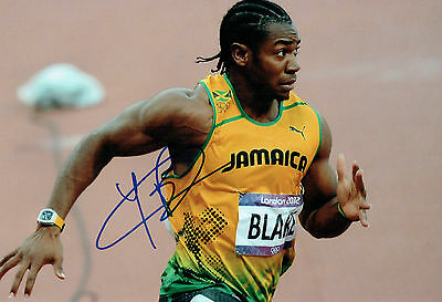 Johan BLAKE Autograph Signed 12x8 Photo AFTAL COA Jamaica Athlete Sprinter