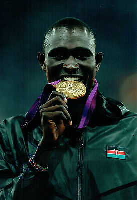 David Lekuta RUDISHA Autograph Signed 12x8 Photo AFTAL COA Kenya Gold Medal Win