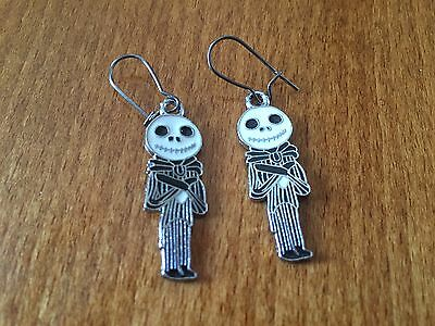 Silver Coloured Jack Skellington Themed Dangly Earrings - NEW Gothic