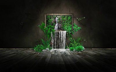 Framed Print - Waterfall Spilling from a Painting (Picture Poster Funky Abstract