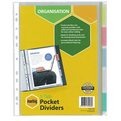 Marbig A4 5 Tab Dividers Pocket Divider - Clear Tabs 35080