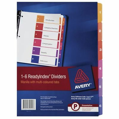 Avery 1-6 Divider Tabs A4 Ready Index Coloured Tabs - L7411-6
