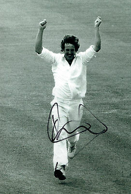 Ian BOTHAM Signed Autograph 12X8 Cricket 100th Test Wicket Photo AFTAL COA