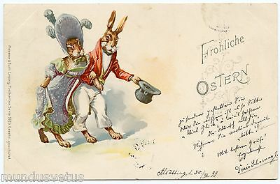 LAPINS HUMANISéS. DRESSED RABBITS. CHAPEAU. HAT. MEISSNER AND BUCH. YEAR 1899